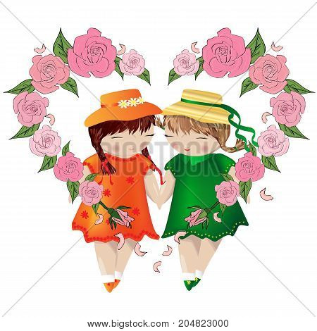 Lesbian Couple. Two Girls Hold Hands In A Frame Made Of Heart Consisting Of Roses. Love Of Two Women