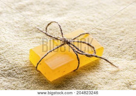 color fragrant soap. relaxing spa concept background