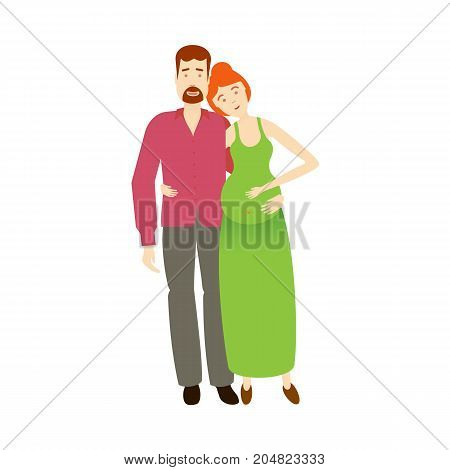 vector flat cartoon adult couple. Isolated illustration on a white background. Flat family characters. Adult red-haired man, adult pregnant woman in green dress and newborn baby