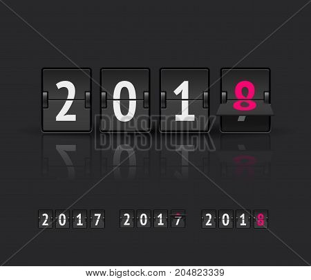 2018 countdown timer vector illustration isolated on dark background. Analog scoreboard flip calendar from 2017 to 2018
