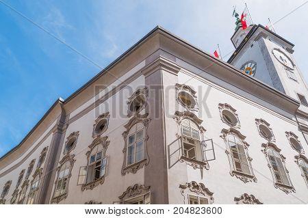 Austria Salzburg upward view of theTown Hall palace