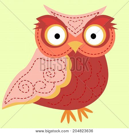 Strict, Angry Owl With A Turned Head, A Pattern On The Wings And A Pussy. Cute Pink And Grey Cartoon