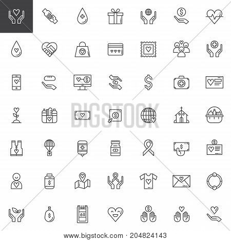 Donation line icons set, outline vector symbol collection, linear style pictogram pack. Signs, logo illustration. Set includes icons as Charity, Blood transfusion, Donors, First aid kit