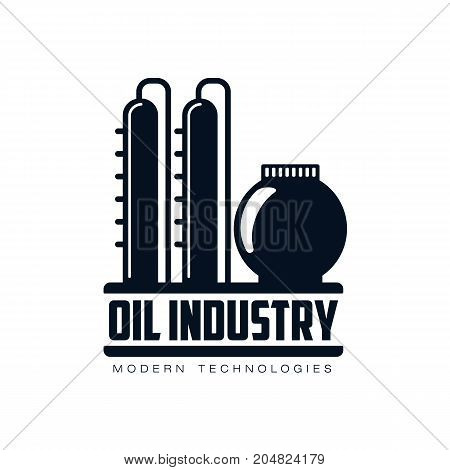 vector oil refinery plant simple flat icon pictogram isolated on a white background. Gas oil fuel, energy power petroleum industry symbol, sign silhouette