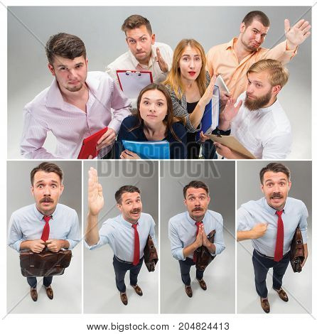 Job interview with manager in office. Concept of choose the best candidate. Collage with young business men and women, funny looking and asking question, you talking to me, you mean me. Studio shot on gray background. Human emotions, facial expressions