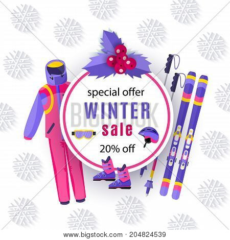 vector winter sale poster template. Winter active outdoor sport elements - mountain ski with sticks, boots, goggles and outdoor sport clothing. Decorated flyer banner Illustration on white background.