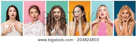 The collage from portraits of young women with shocked and surprised facial expression