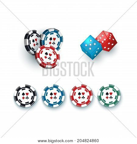 Set of casino, gambling devices - chips, tokens and dices, vector illustration isolated on white background. Group of gambling dices and casino chips, tokens on white background