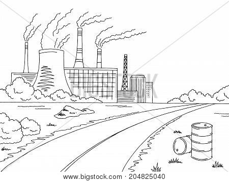Industry road graphic bad ecology black white landscape sketch illustration vector