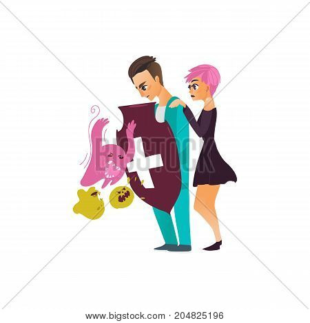 vector flat cartoon male doctor holding shield protecting female patient from mental illness - germs, microbs fear or phobia. Isolated illustration on a white background