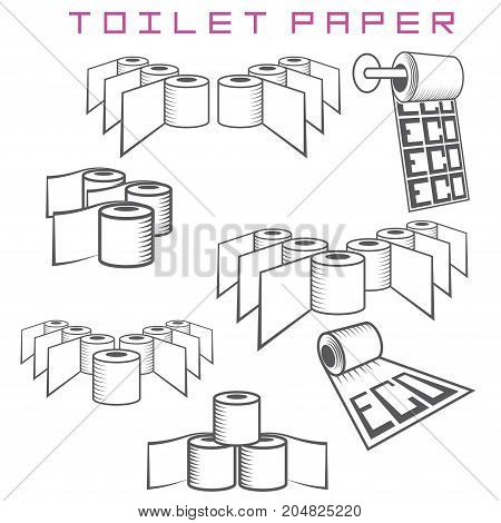 illustration consisting of several images of rolls of toilet paper in the form of a symbol