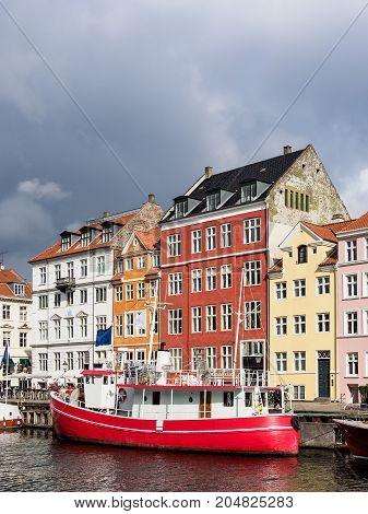 Port Nyhavn in the city Copenhagen Denmark.