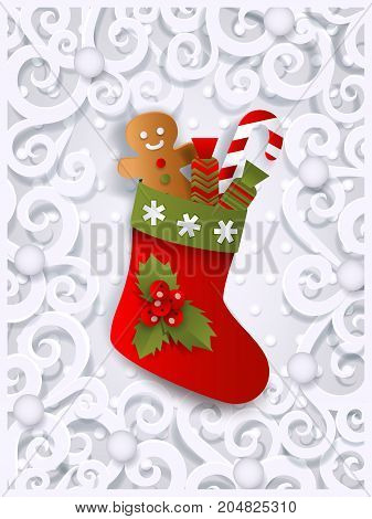 Christmas greeting card template with Xmas stocking, gingerman and candy cane, flat, paper cut vector illustration on white ornamented background. Xmas greeting card template with Christmas stocking