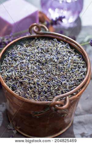 Dried And Fresh Lavender Flowers, Ingredients For Aroma Spa Treathment And Bodycare For Women