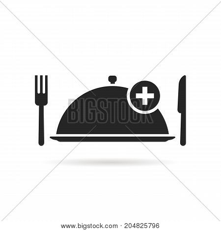 food ordering with black tray. concept of gourmet, yummy, promotion, foodie, delicious, healthy cuisine, pizzeria. flat style trend modern logotype design vector illustration on white background