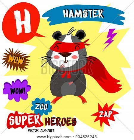 Super Big Set. Cute Vector Zoo Alphabet With Animals In Cartoon Style.letter H-hamster In Superheroe
