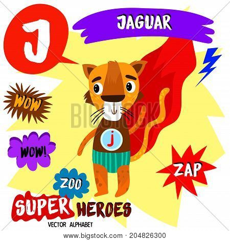 Super Big Set. Cute Vector Zoo Alphabet With Animals In Cartoon Style.letter J-jaguar In Superheroes