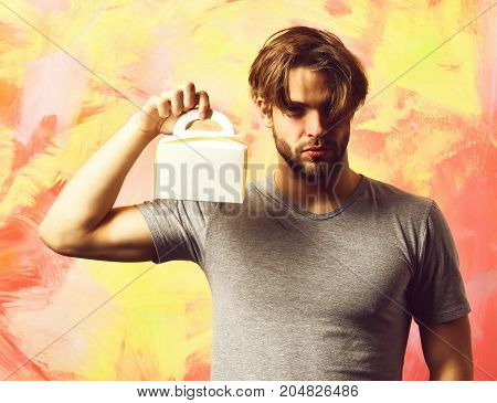 Caucasian Bearded Sexy Macho Man Holding Meal Box