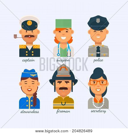People of different professions on a white background.Group people various professions labor day
