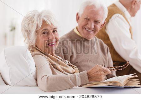 Happy Elder Is Looking At Wife