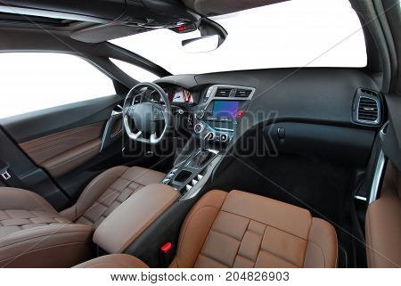 studio shot passenger car interior, front view