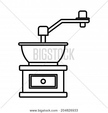 coffee grinding with crank in monochrome silhouette vector illustration