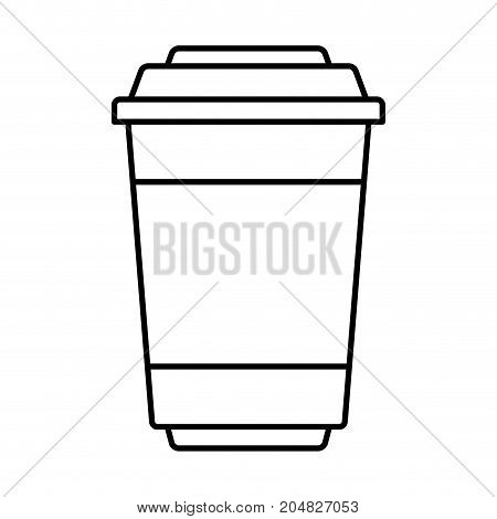 glass disposable for hot drinks with lid in monochrome silhouette vector illustration