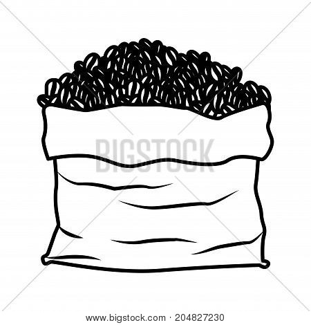 bag with coffee beans in monochrome silhouette vector illustration