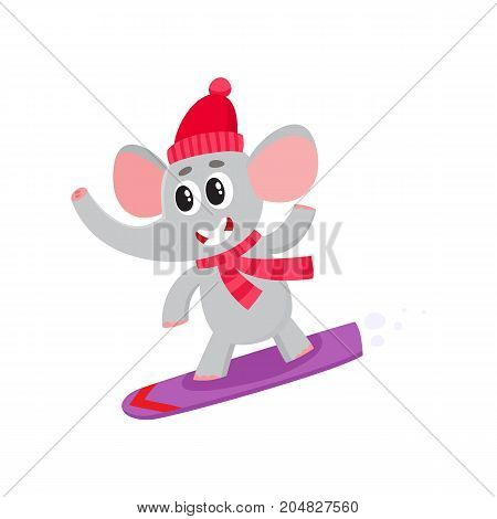 Cute little elephant character snowboarding in hat and scarf, winter activity, cartoon vector illustration isolated on white background. Little baby elephant animal character snowboarding in winter