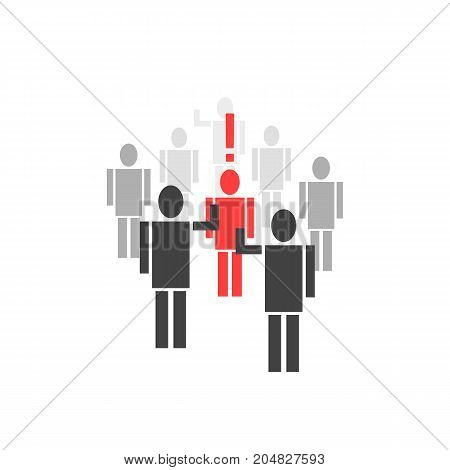 different person from crowd. concept of quarrel, leader, abuse, victim, bad opinion, human right, lynching, guilt, stress, unity. flat style trend modern design vector illustration on white background
