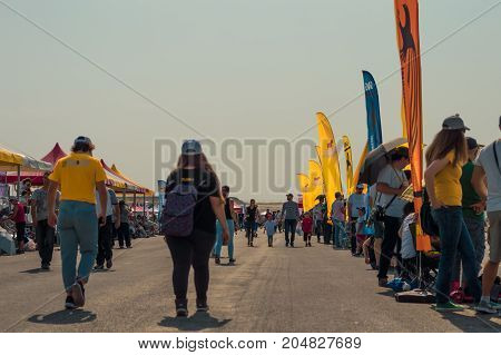 Sivrihisar Eskisehir Turkey - September 17 2017: Sivrihisar Airshows (SHG) small aviation event displayed in SUSHM. An airshow organized in western Anatolian territories which brought with the local people and national aviation enthusiasts together.