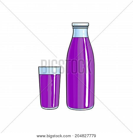 Vector cartoon glass bottle and cup of purple fresh fruit juice. Isolated illustration on a white background. Soft drink, refreshing beverage image.