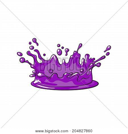 vector purple juice drop, blot cartoon. Isolated illustration on a white background. Sweet splashes, smudges element