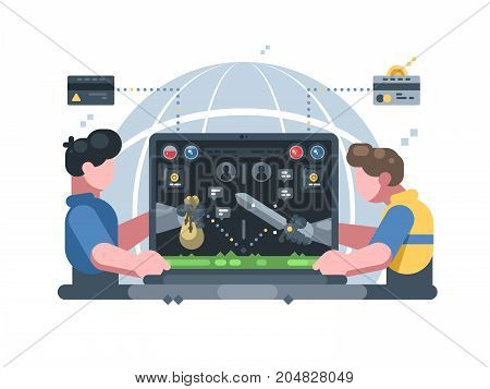 Earn money in online computer game. Play in virtual world. Vector illustration