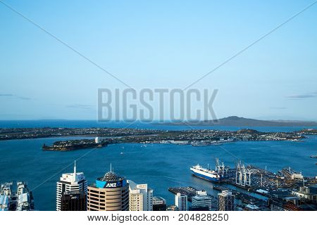 Auckland, Australia - February 07, 2015: View over the harbor from the observation deck of the Sky Tower