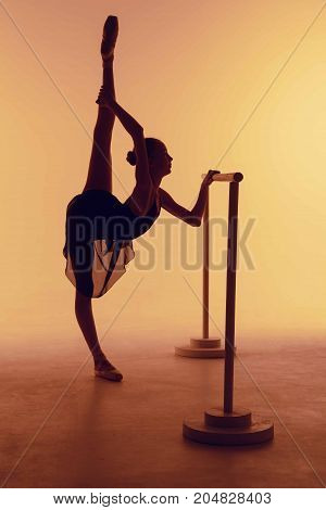 The silhouette of young ballerina stretching on the bar on orange background