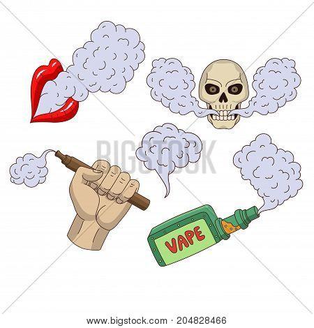 Set of vaping elements and symbols - smoke, skull, vaporizer, e-cigarette, cartoon vector illustration isolated on white background. Vaping - hand holding e-cigarette, vaporizer, smoking lips, skull