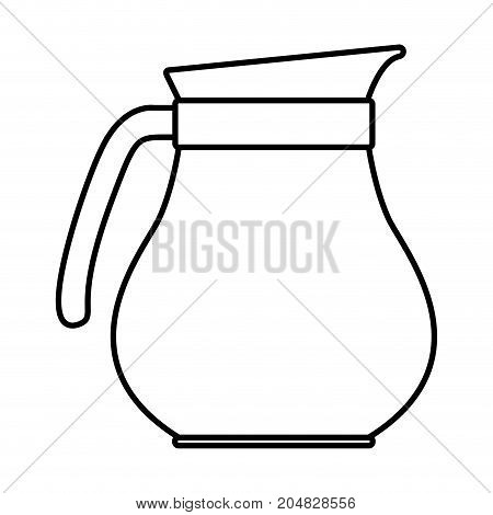 rounded glass jar of coffee with handle monochrome silhouette vector illustration