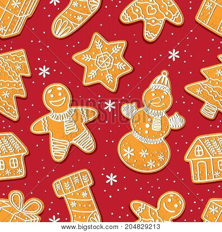 Seamless pattern formed by glazed homemade Christmas gingerbread cookies on red background, cartoon vector illustration. Christmas gingerman, boot, tree, house, snowflake. snowman gingerbread cookies