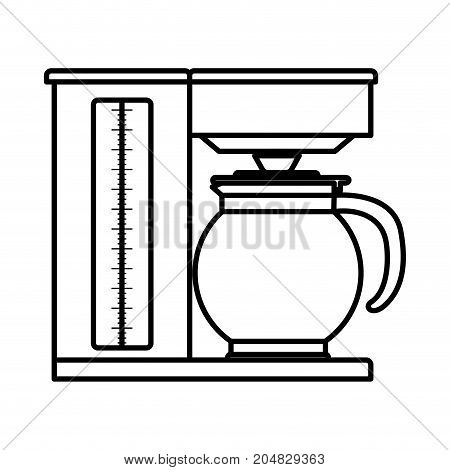 coffee maker with glass jar monochrome silhouette vector illustration