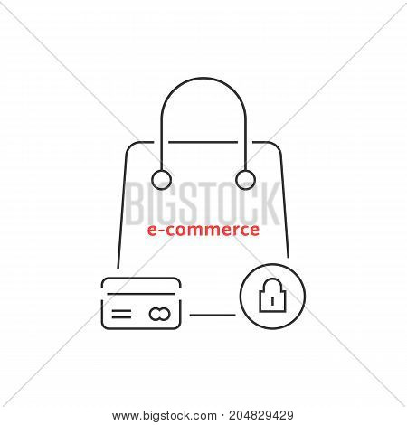 thin line protected e-commerce. concept of currency, wealth, debt, stock, lock, customer, webshop, worldwide business. flat style trend modern logo design vector illustration on white background