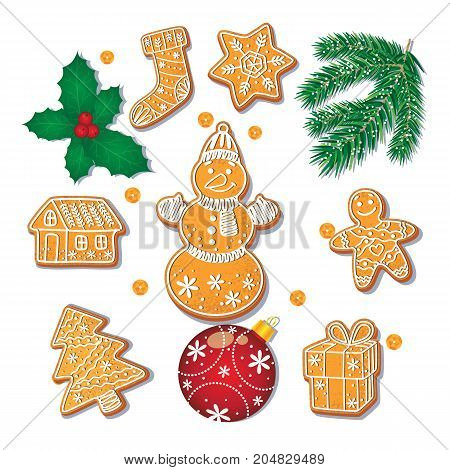 Set of glazed Christmas gingerbread cookies, fir tree branch, misletoe, decoration ball, cartoon vector illustration isolated on white background. Set of Christmas gingerbread cookies and decorations