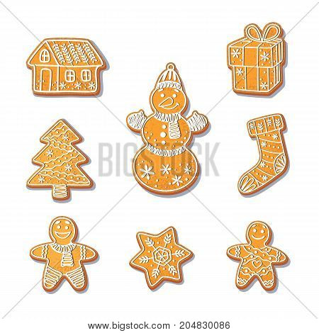 Gingerbread cookies set vector isolated illustration on a white background. New year baked cartoon sweet cake gingerbread man, stocking snowflake. Traditional winter holiday home treat