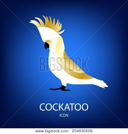 Vector icon with cockatoo on blue background. Flat design.