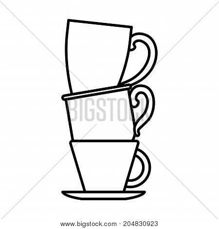 porcelain cup stack monochrome silhouette vector illustration