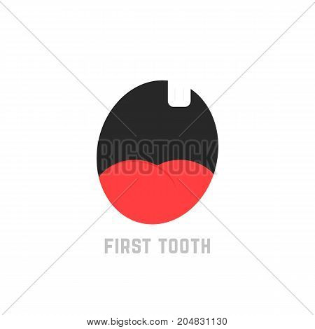 simple first tooth icon. concept of foodie, young boy or girl, yummy yum, expression avatar, small incisor, irritated. flat style trend modern logotype design vector illustration on white background