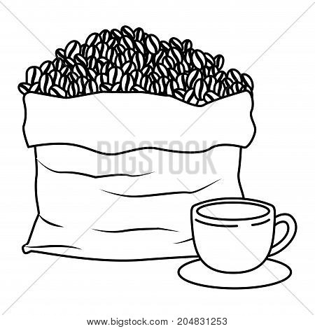 bag with beans and cup of coffee with handle on dish monochrome silhouette vector illustration