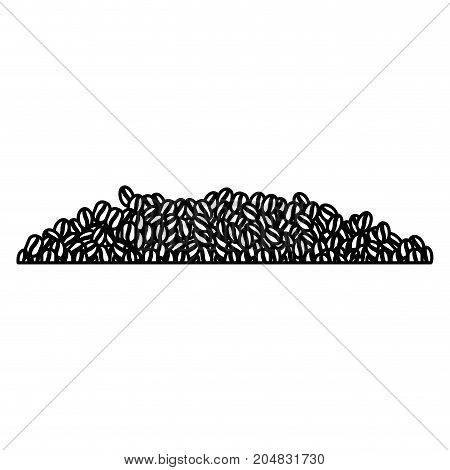 coffee beans pile monochrome silhouette vector illustration