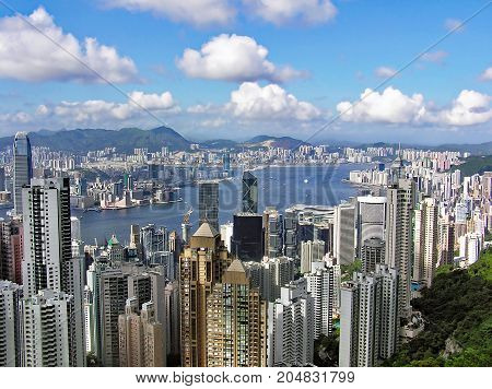 View from Victoria Peak over the city of Hong Kong