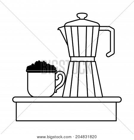 porcelain mug with pile coffee beans and metallic jar of coffee with handle monochrome silhouette vector illustration